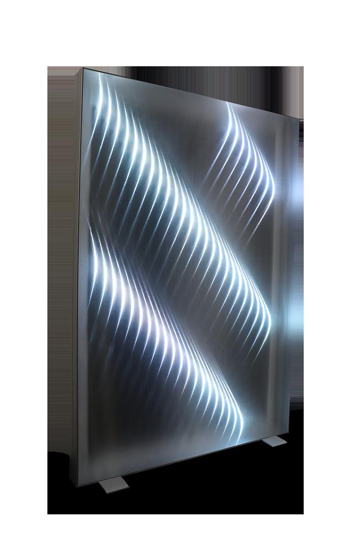 Rahmensystem mit Lichteffekt und Gewebe