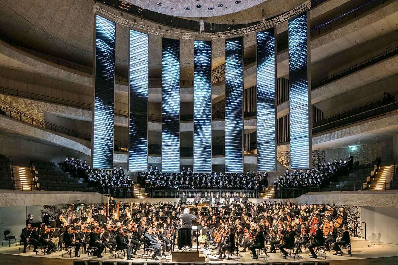 Textilien für Lichtdesign Projekt in der Elbphilharmonie