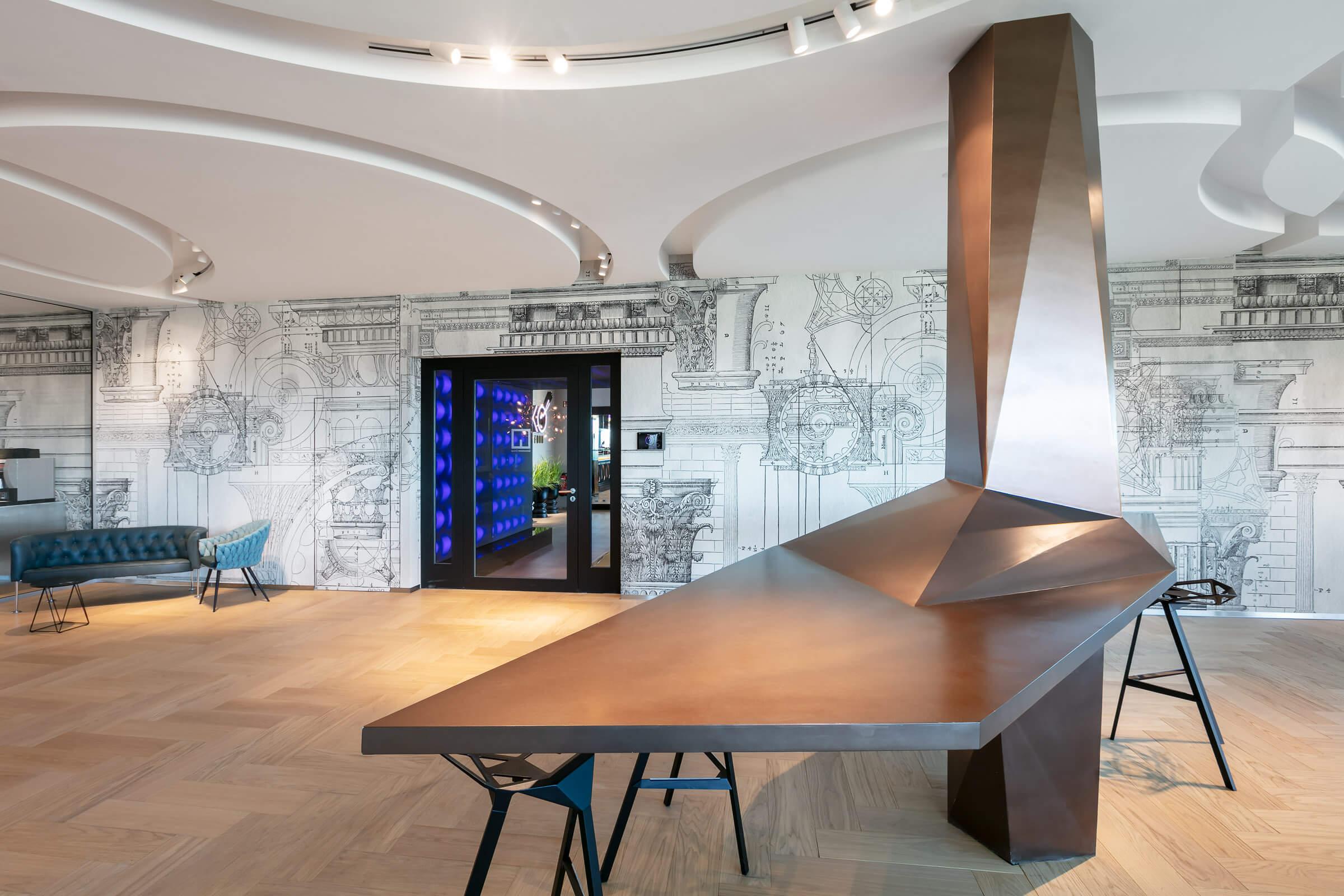 Ein Architekturbüro im edlen Design und mit Leuchtrahmen