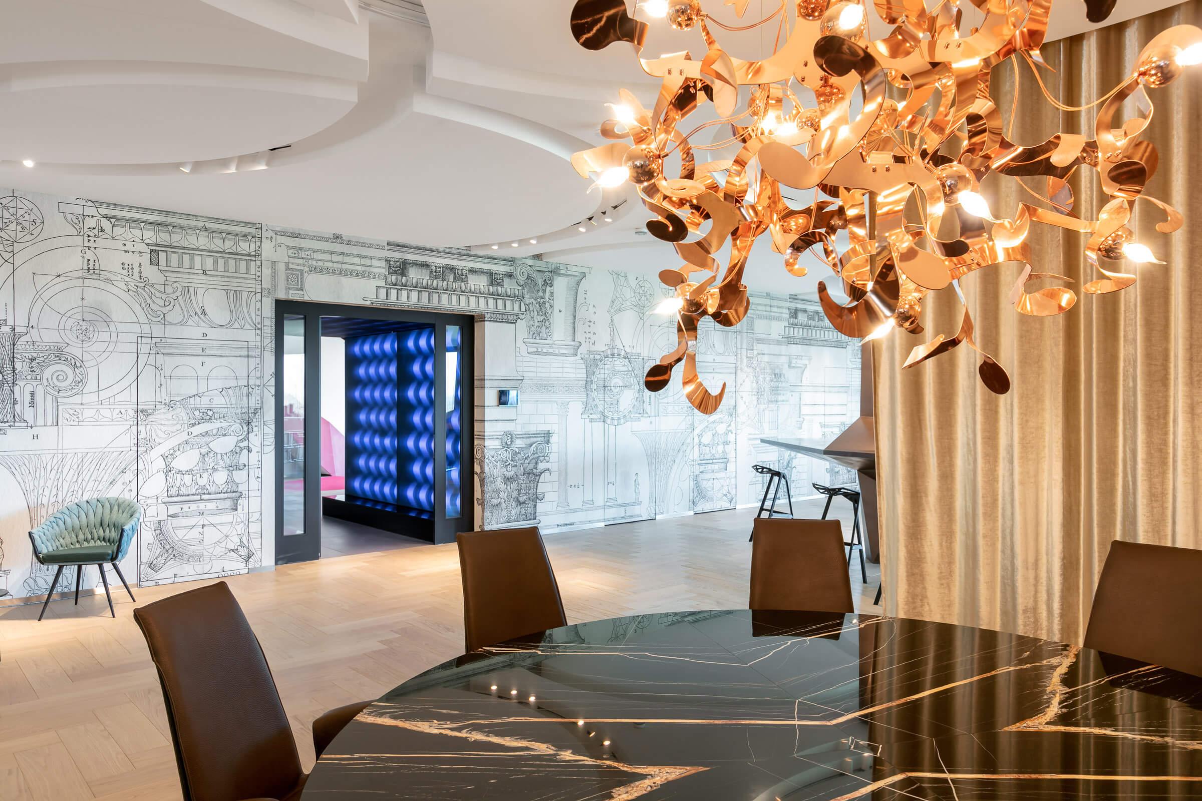 Textilien im Leuchtrahmen eine Designbüros