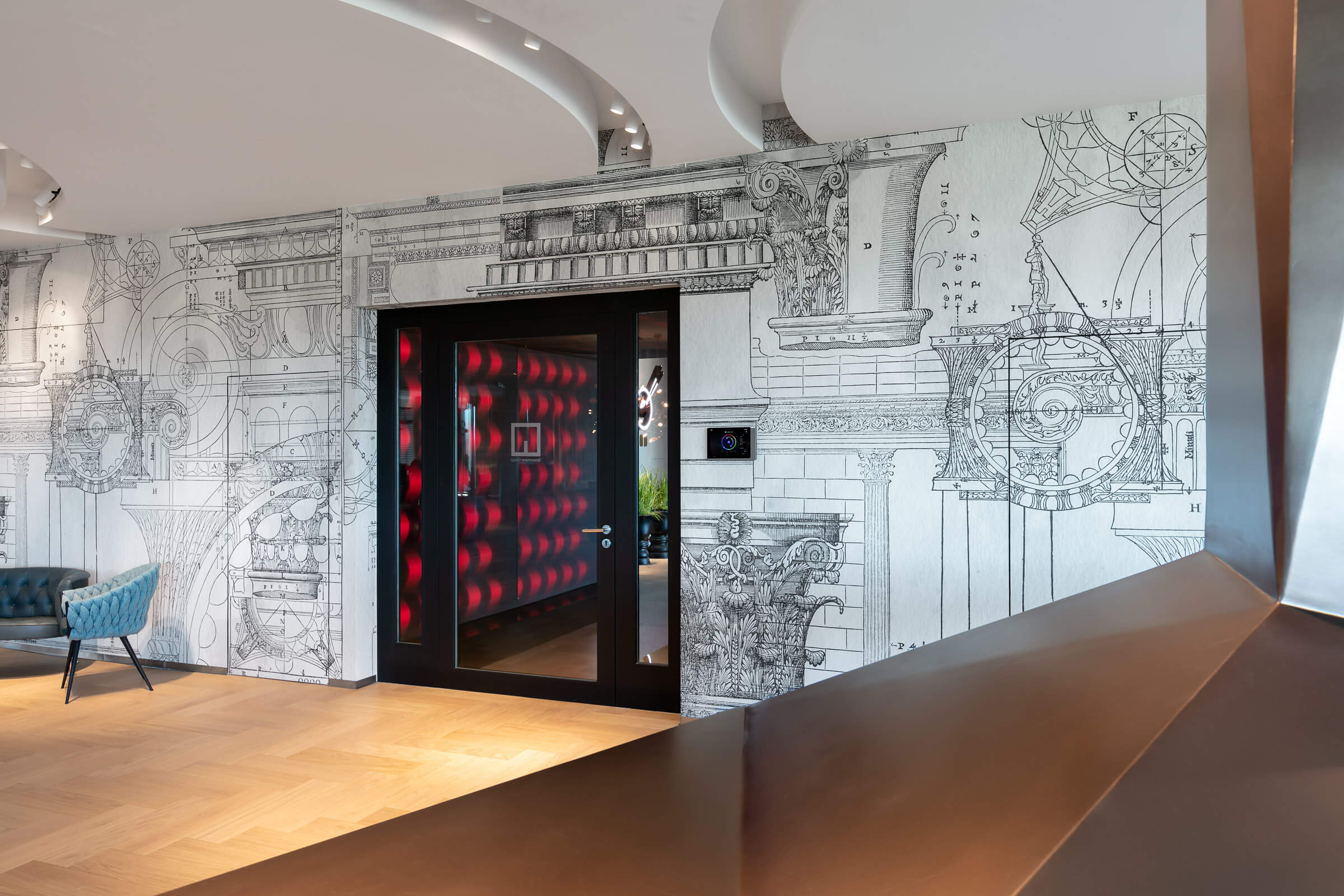 Leuchtrahmen mit LEDs und Textilien im Eingangsbereich eines Architekturbüros