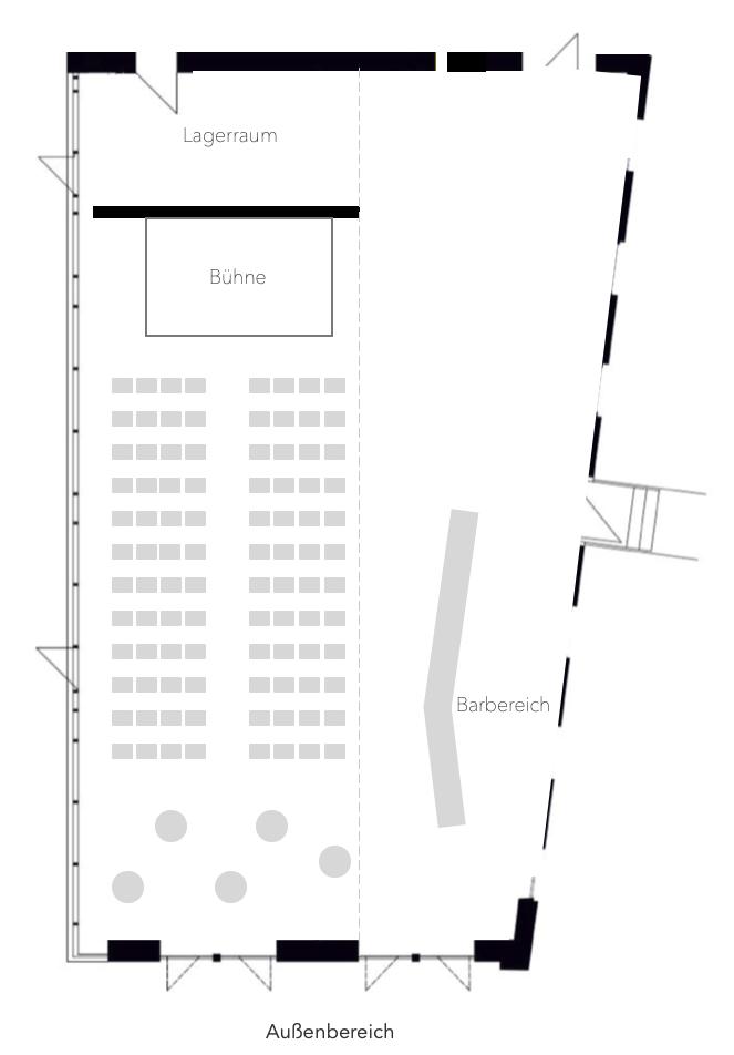Zeichnung eines Raumes mit Bestuhlung