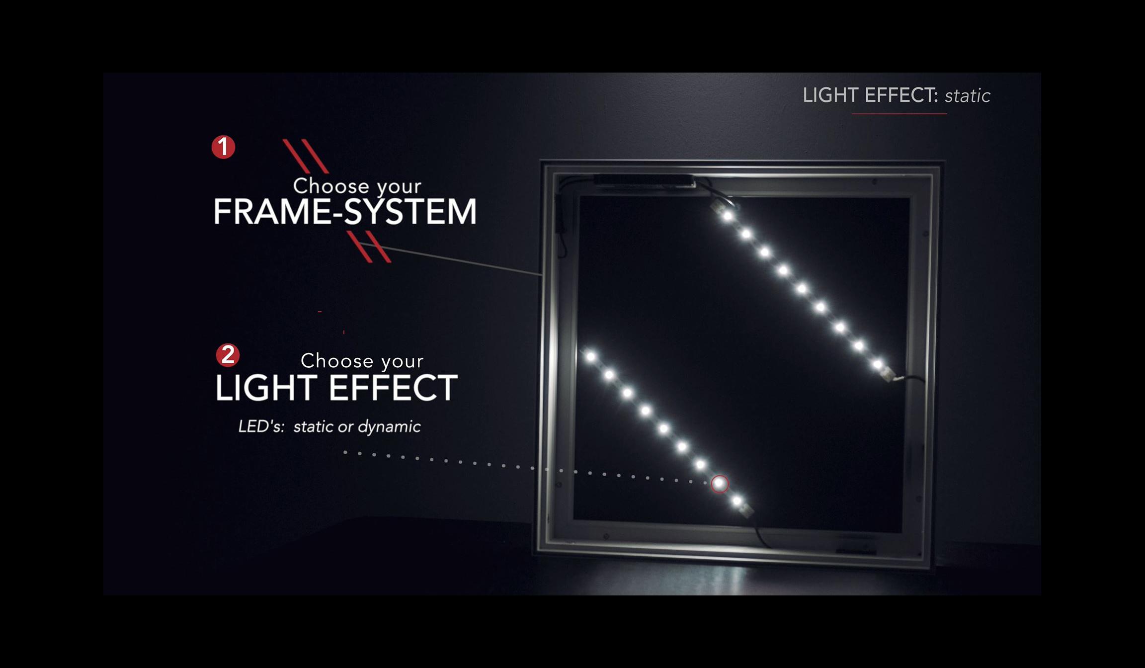 Textile Rahmensysteme mit Lichteffekt für Wand und Decke